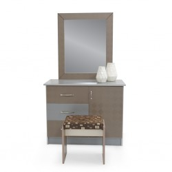 Malone Dressing Table+Pouf MDF Grey & Cappucino