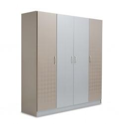 Malone Wardrobe 4 Doors MDF Grey & Cappucino