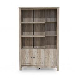 Loas Bookshelf 3 Doors+6 Tiers Rustic Oak