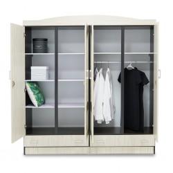Juniper Wardrobe 4 Doors MDF Melamine Creamy & Wengue