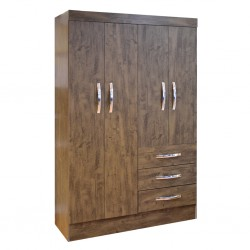 Sino Wardrobe 4 Doors Walnut Brown PB