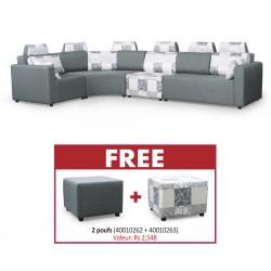 Picasso Sofa Corner in Grey Fabric & Free Picasso Ottoman Plain Grey+Picasso Ottoman Pattern Grey