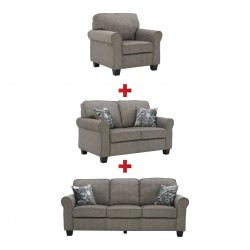 Brooklyn 3 Seater+2 Seater+Accent Chair BST Burlap Col Fabric