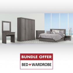 Colton Bed 150x190 cm+Wardrobe 4 Doors MDF Arom