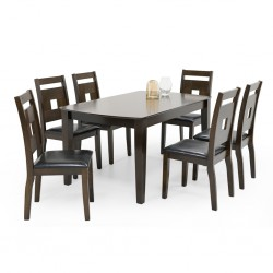Oakland Table and 6 Chairs MDF & Black PU