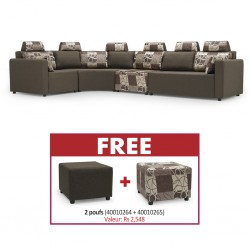 Picasso Sofa Corner in Brown Fabric & Free Picasso Ottoman Plain Grey+Picasso Ottoman Pattern Grey