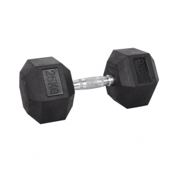Black Rubber Hex Dumbbell  Set 25 kg