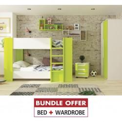 Glitter Bunk Bed 90x190cm+Wardrobe 2 Doors White & Green P.Board