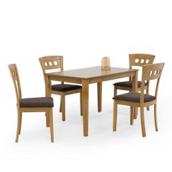 Grace Table and 4 Chairs Natural Rubberwood
