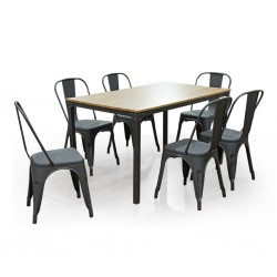 Tolix Table and 6 Chairs Black Metal & MDF Top