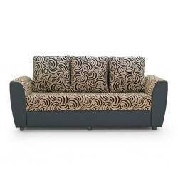 Elsa Sofa 3+2+1 Black W/Beige Pattern Fabric S1-4