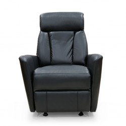 Glide One Seater Recliner Black Bonded Leather