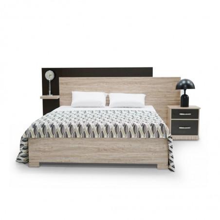 Flavi Bed 150x190 cm MDF White Oak