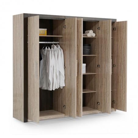 Flavi Wardrobe 5 Doors MDF White Oak
