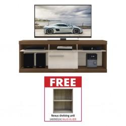 Havana Low TV Cabinet Off/White Particle Board & Free Nexus Shelving Unit 2 Tiers Oak