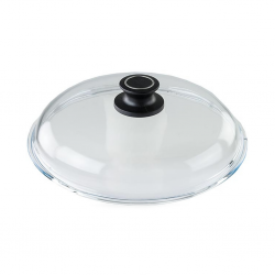 """AMT 026-E-Z1-L2 26cm Glass Lid With English Sleeve With Mounted Lid Knob """"O"""""""