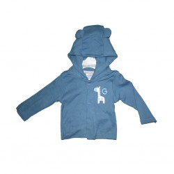 Hooded Jacket With Embroidery Blue Jean 6-12mths LI5488