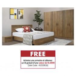 Cardiff Wardrobe 6 Doors PB Greyish Brown & Free Cardiff Bed 150x190 cm PB Greyish Brown