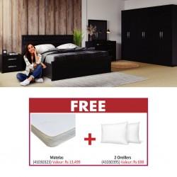 Angel Bedroom Set 180x200cm Black Matte Color & Free Slumberland Flexi King Size 180x200cm + 2 Pillows