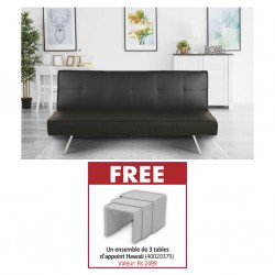 Felix Sofa Bed Black PU & Free Hawaii Set of 3 Side Tables High Gloss White Color