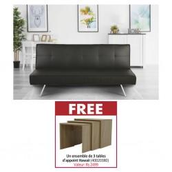 Felix Sofa Bed Black PU & Free Auburn Set of 3 Side Tables Sonoma Color