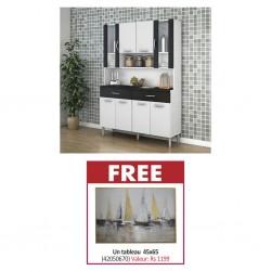 Golden Kitchen Unit PB Black/White & Free Painting 45x65 cm MDF+Fabric