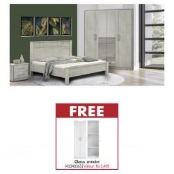 Athenas Bedroom Set 180x200 cm White/Maple PB & Free Glarus Wardrobe 2 Doors White