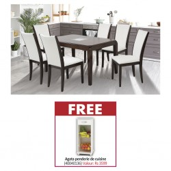 Ruby Table and 6 Chairs Black Cherry Rubberwood & Free Agata Fruit Cabinet White Particle Board W/1 Drw