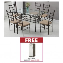 Princy Table and 6 Chairs Metal and Glass & Free Diva Cabinet New White/Choco PB 1 Door/1Drw