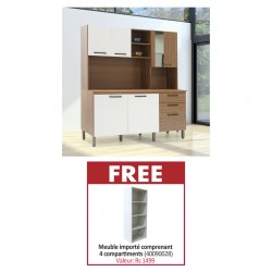 Tampo Kitchen Cabinet Nogueira Off White & Free Nexus Shelving White Particle Board MB085