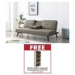 Croatia Sofa Bed Beige Fabric & Free Nexus Shelving Oak Particle Board MB082