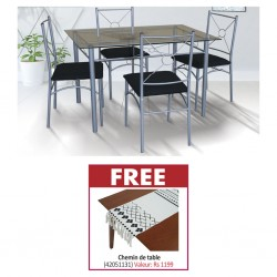 Arvens Table and 4 Chairs Black Metal & Free Table Runner 2 135x150cm 100% Polyester MAT-270015