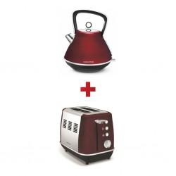Morphy Richards 100108/EE Evoke Red 1.5L Pyramid + Morphy Richards 224408/EE 2Slice Evoke Red SS Toaster