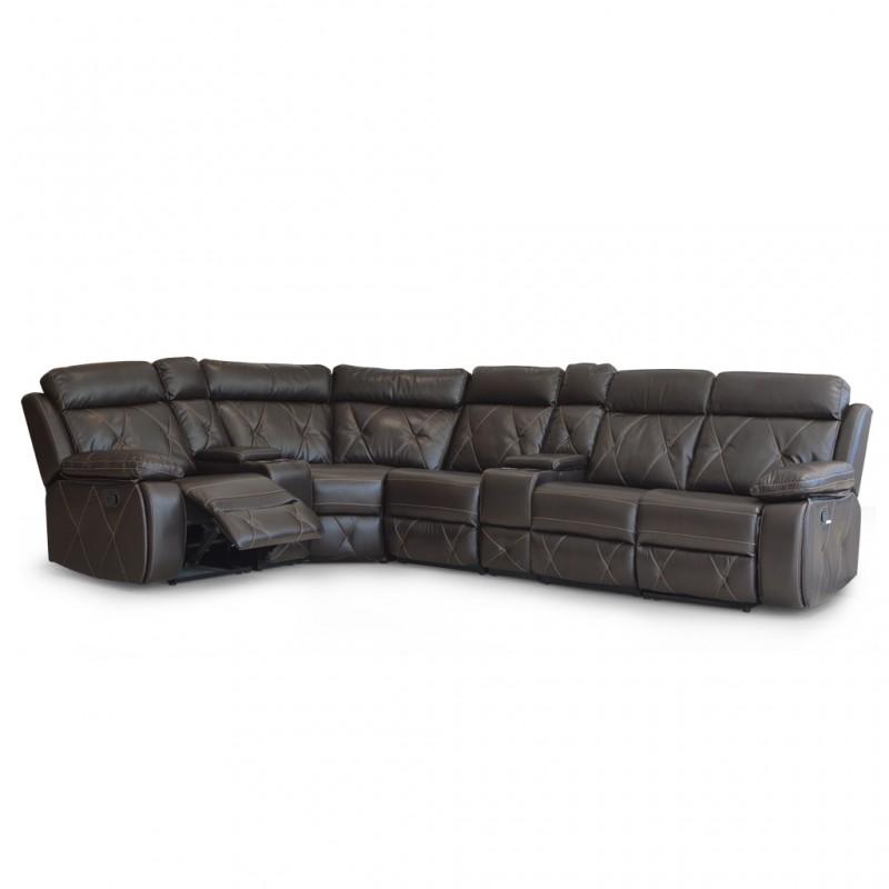 Crestline Sofa Corner Brown Leather gel
