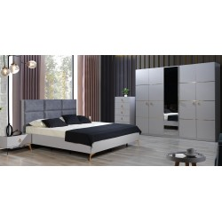 Line Bedroom Set 180x200 cm Silver Color