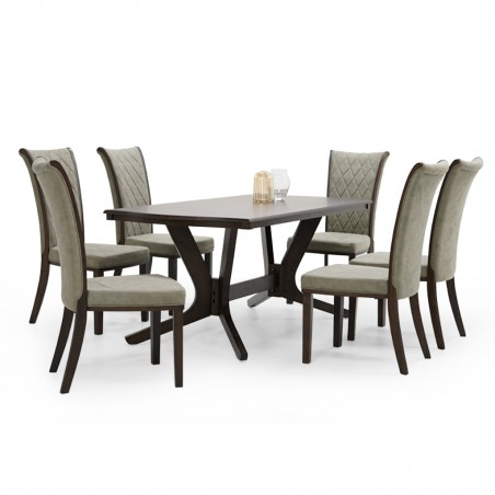 Simon Table and 6 Chairs Dark Rubberwood