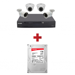 DLINK 4 Cameras Kit DCS-P4 & Free 1TB HDD for D Link