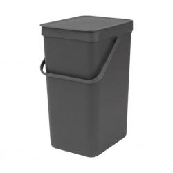 """Brabantia 109966 16L Grey Sort & Go Waste Bin 10YW """"O"""""""