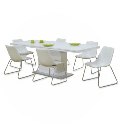 Modernica Odessa Table and 6 Chairs in MDF White