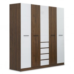 Cathalina Wardrobe 5 Doors With Drawers Walnut+White