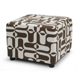 Picasso Ottoman in Pattern Brown Fabric