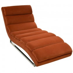 Russo Chaise Velvet Fabric Cayenne Color