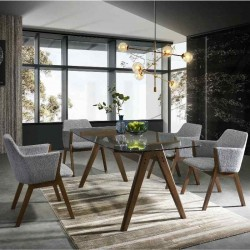 Odense Amali Table and 6 Chairs Walnut Finish