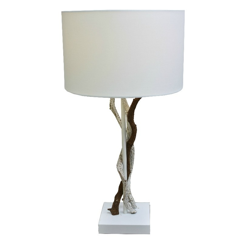 Table Lamp Poly Resin Ivory N.wood Finish