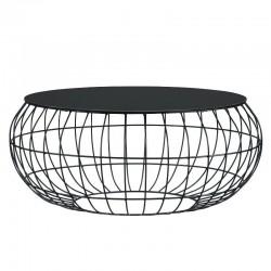 Acacia Coffee Table Metal & Glass Top Black