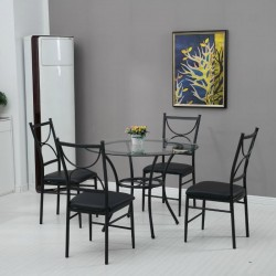 Jace Table + 4 Chairs Metal Glass