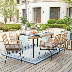 Eton Table and 6 Chairs In Metal/Rattan