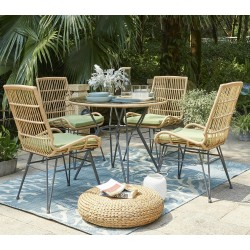 Vera Table and 4 Chairs In Metal/Rattan