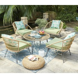 Bellini Table and 4 Chairs Metal Frame/Rattan