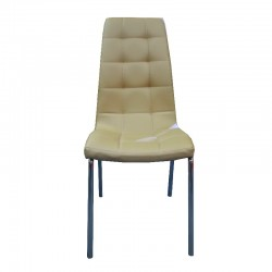Brita Chair Beige PU with Chromed Legs